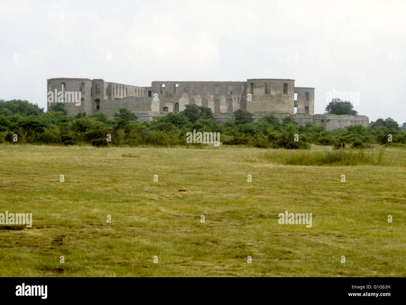 Borgholm Ruined castle on Alvaret - Stock Image