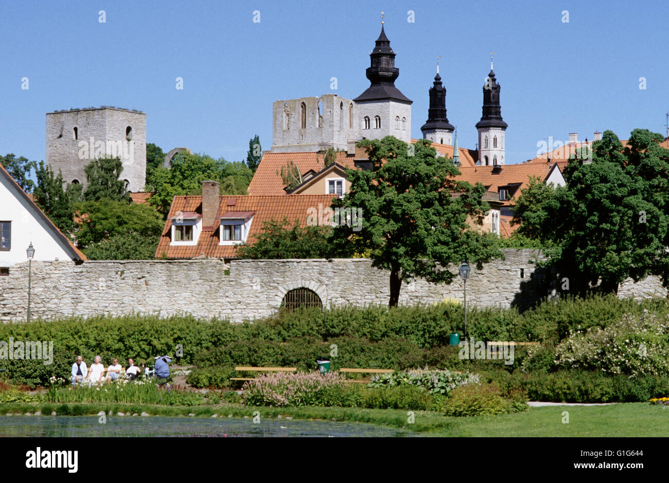 VISBY Gotland from the south - Stock Image