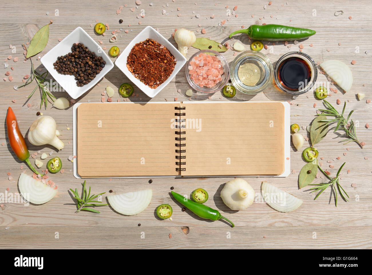 Food background blank notebook for notes and pepper bay leaf stock food background blank notebook for notes and pepper bay leaf rosemary onions himalayan salt olive oil soy sauce forumfinder Image collections