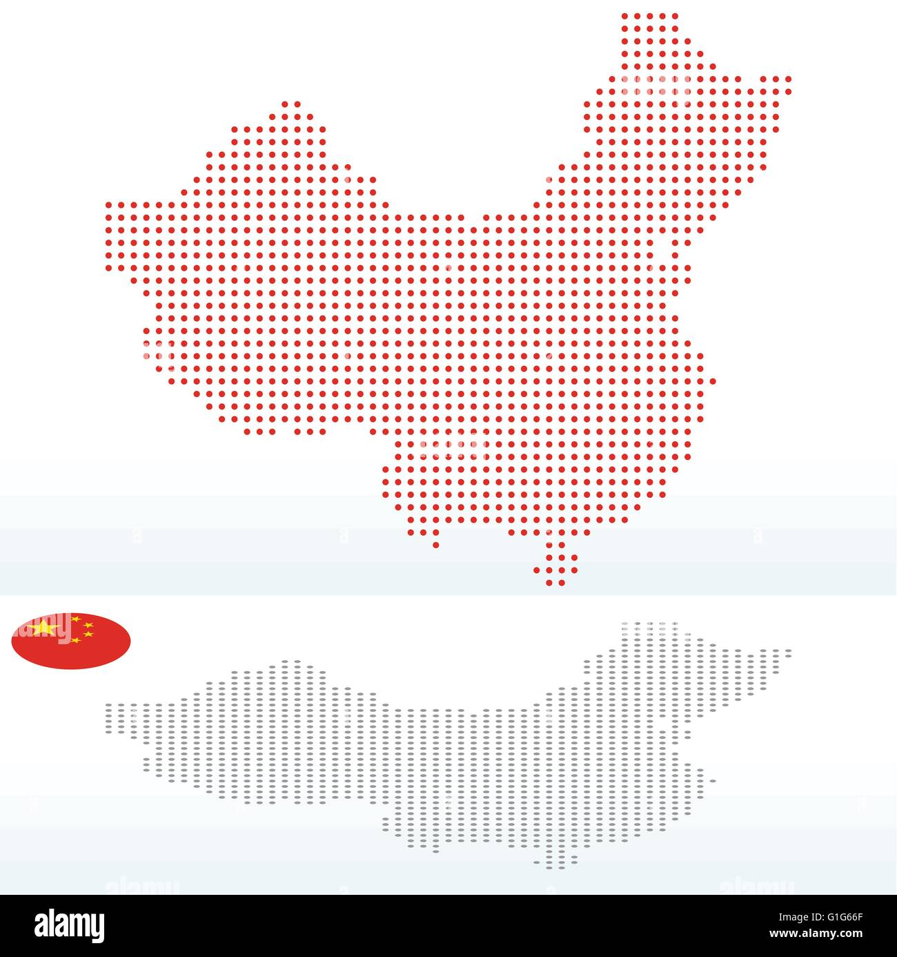 Vector Image -  Map of People's Republic of China with with Dot Pattern - Stock Image
