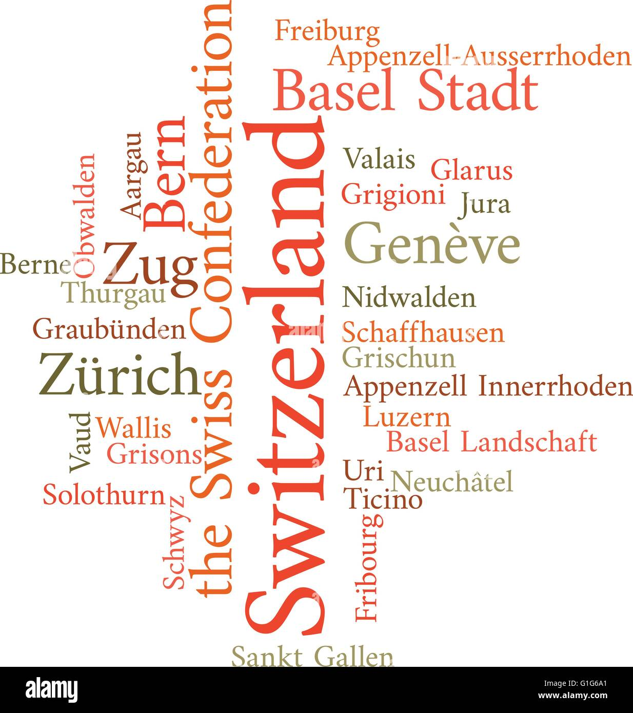 Illustration of the Swiss Cantons in word clouds isolated on white background - Stock Vector