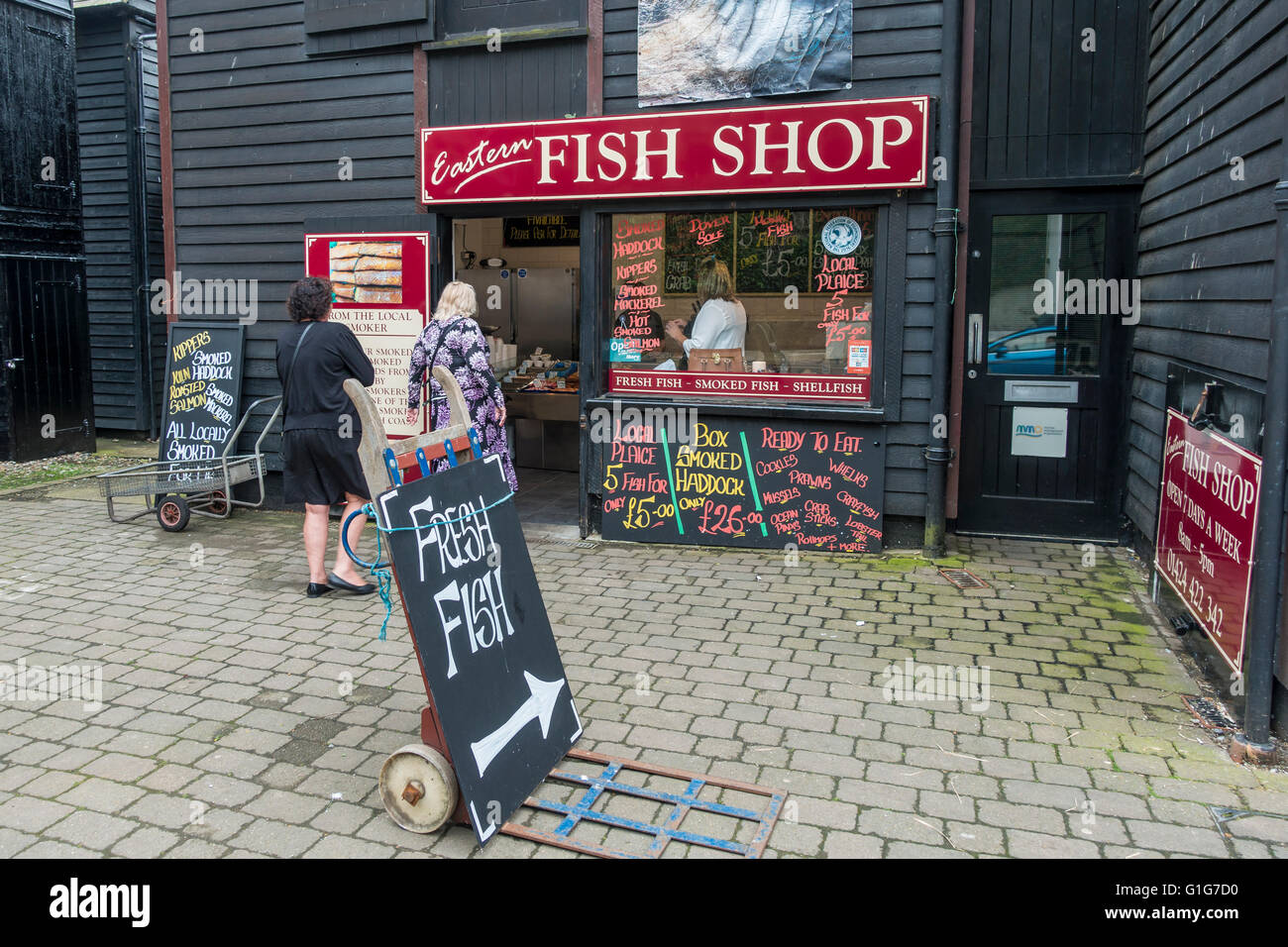 Fresh Fish Shop Hastings Eastern Fish Shop  East Sussex - Stock Image