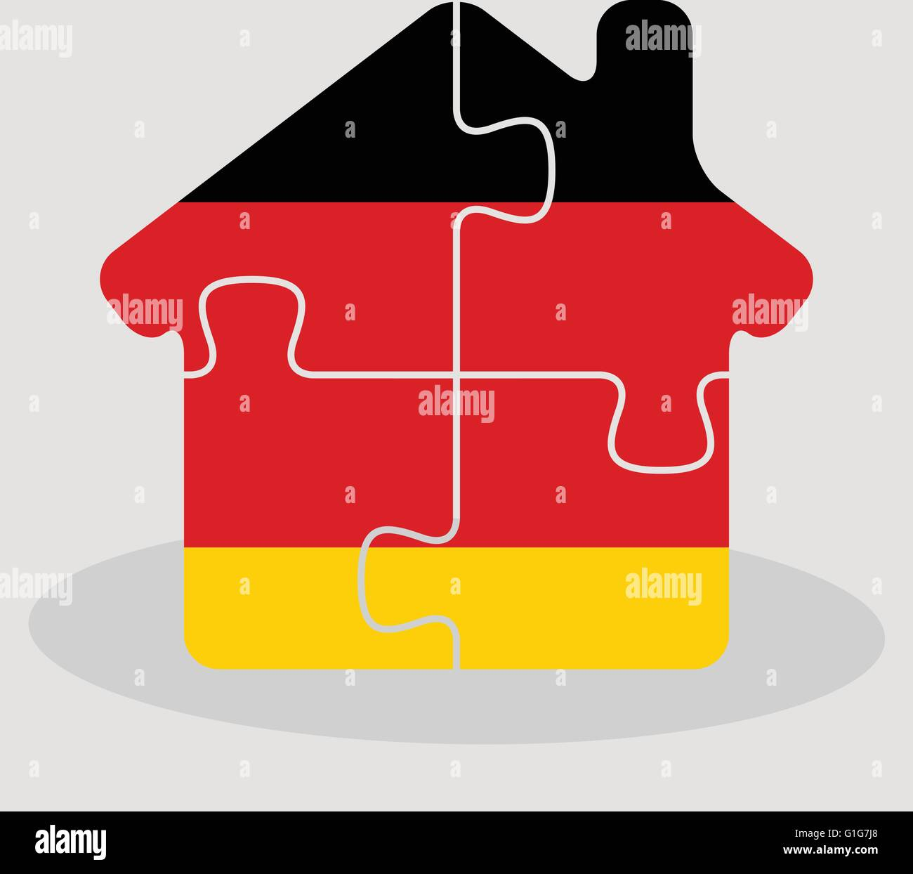 Vector illustration of house home icon with German flag in puzzle isolated on white background Stock Vector
