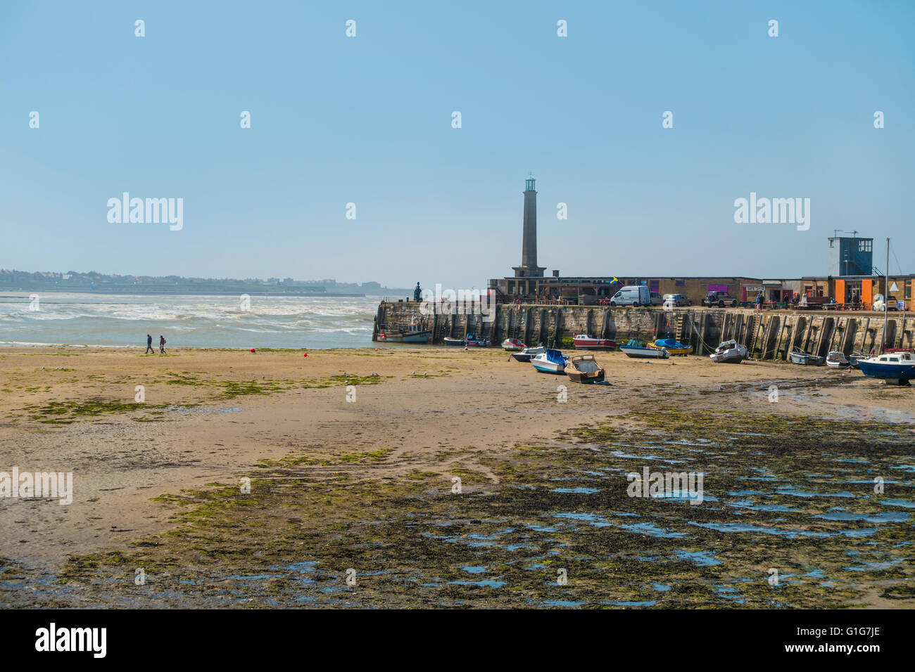 Margate Harbour Rough Sea Tide Out Kent England - Stock Image