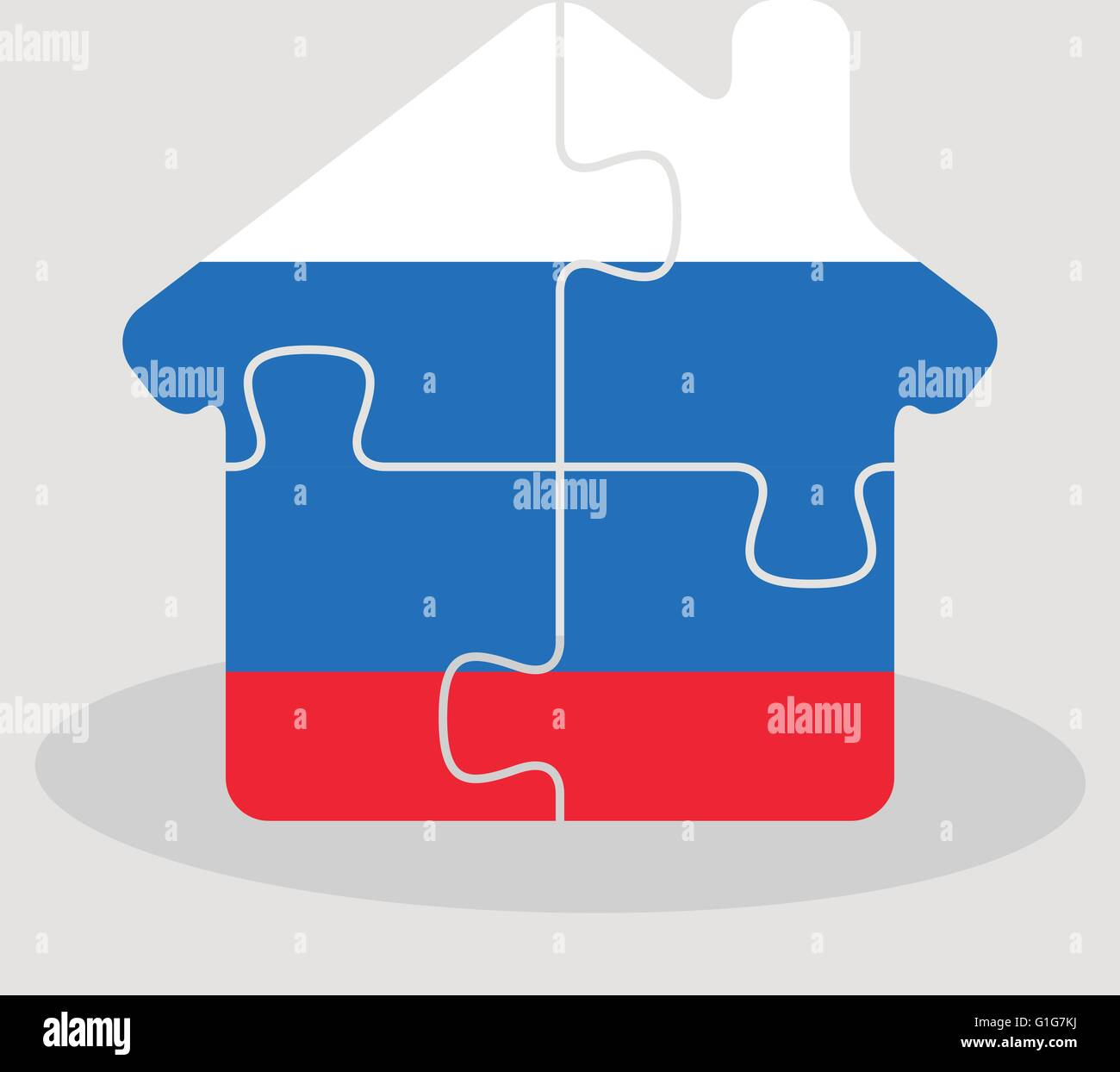 Vector Image - house home icon with Russian flag in puzzle Stock Vector