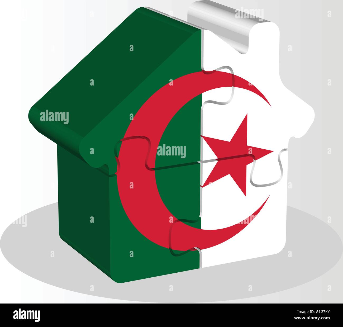 Vector illustration of house home icon with Algerian flag in puzzle isolated on white background Stock Vector