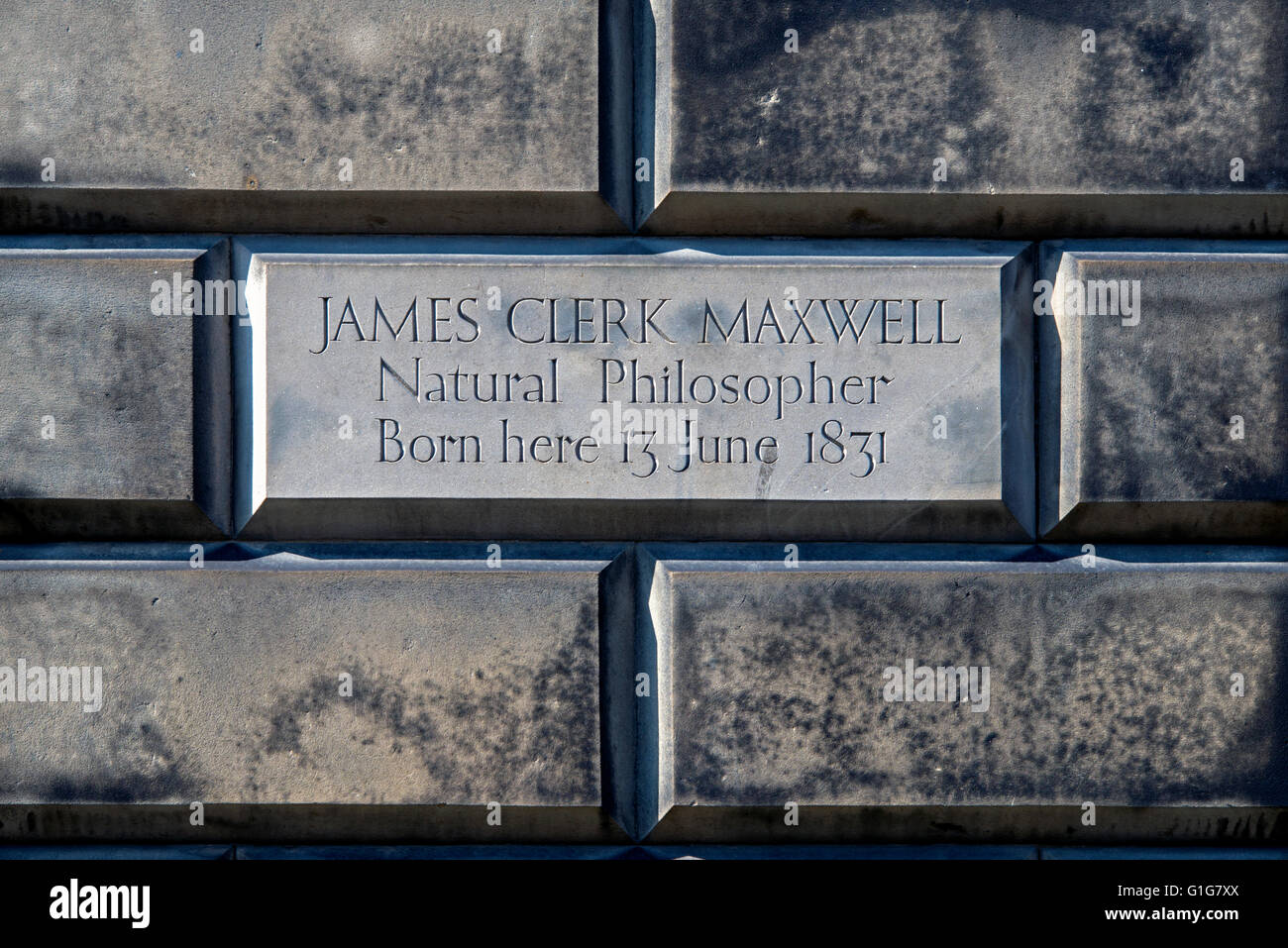 The inscription on the wall of 14 India Street, the birthplace of James Clerk Maxwell (1831-79). - Stock Image