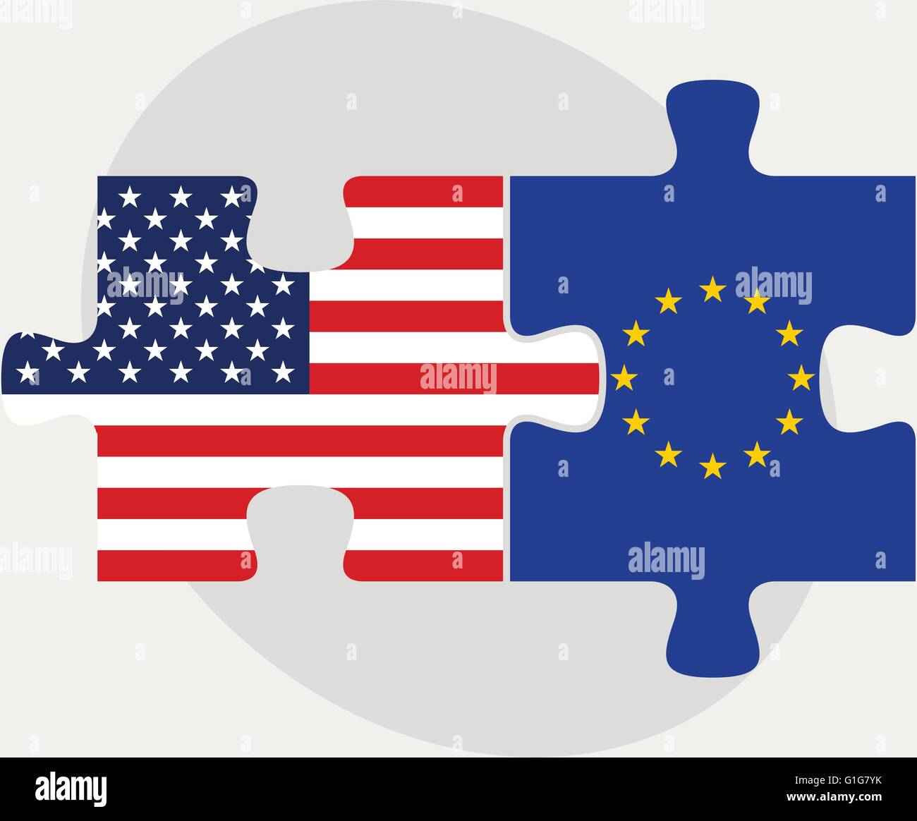 illustration of USA and European Union Flags in puzzle isolated on white background - Stock Image
