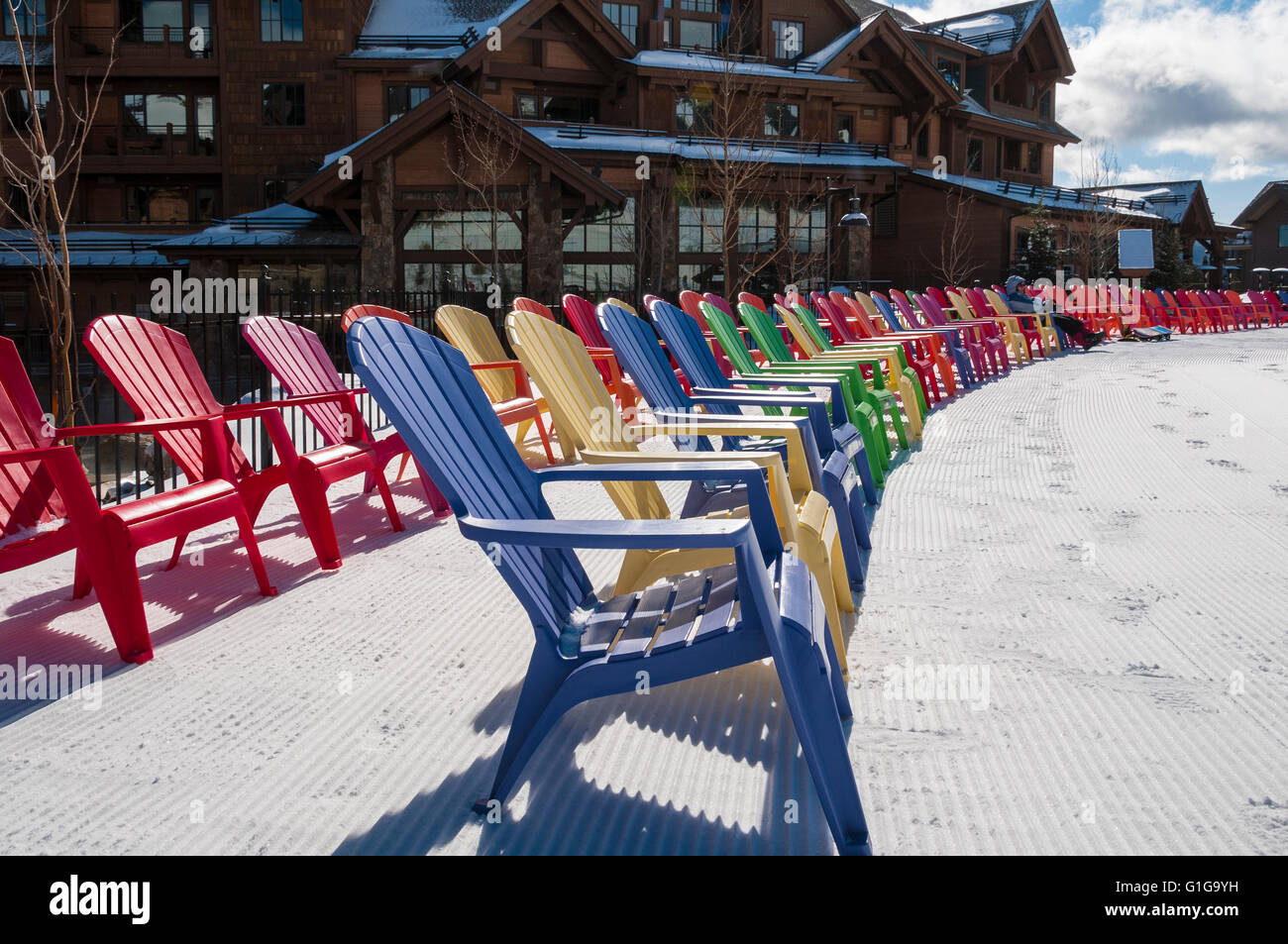 Adirondack chairs in front of Grand Lodge on Peak 7, Breckenridge Ski Resort, Breckenridge, Colorado. - Stock Image