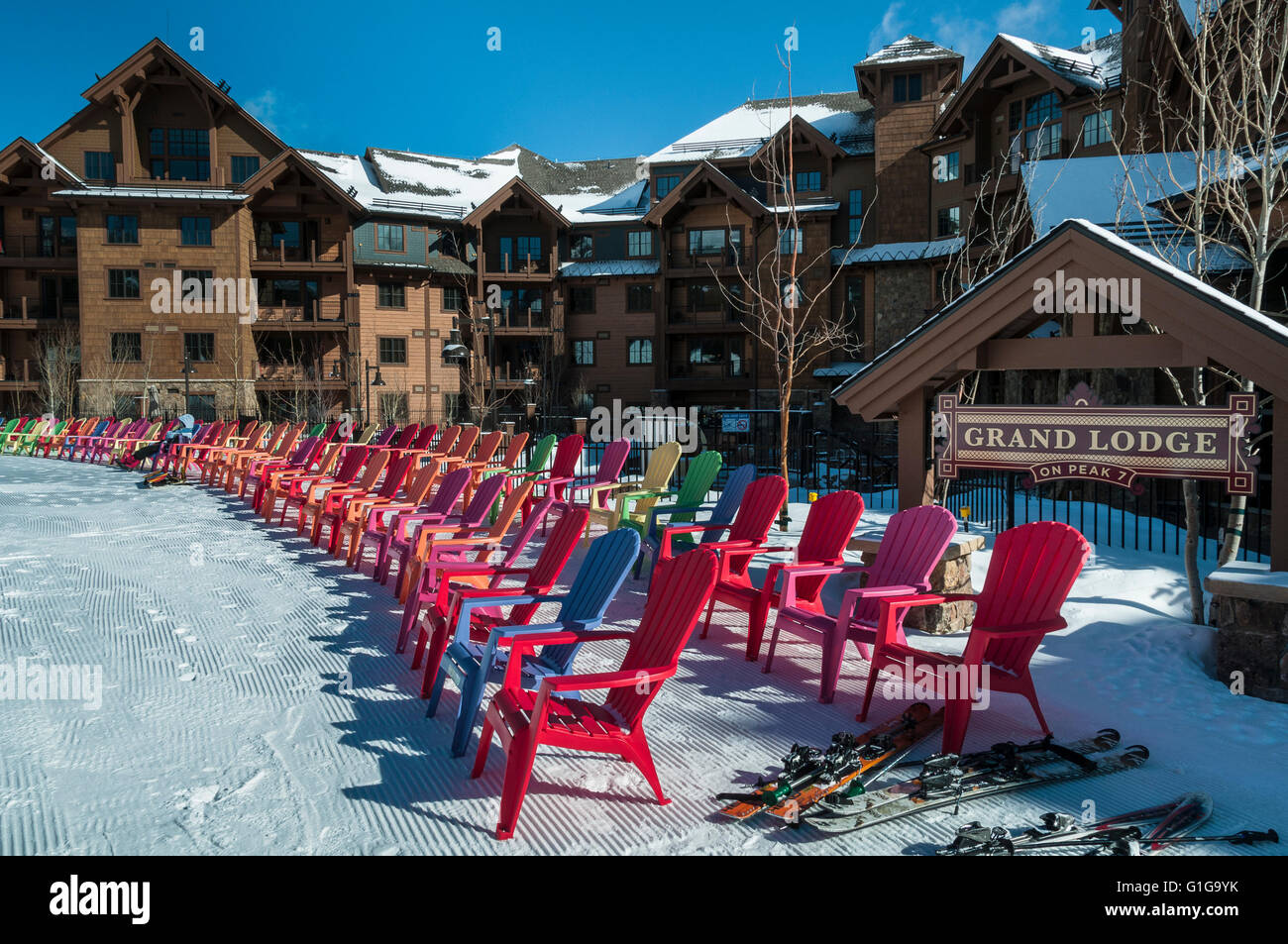 adirondack chairs in front of grand lodge on peak 7, breckenridge