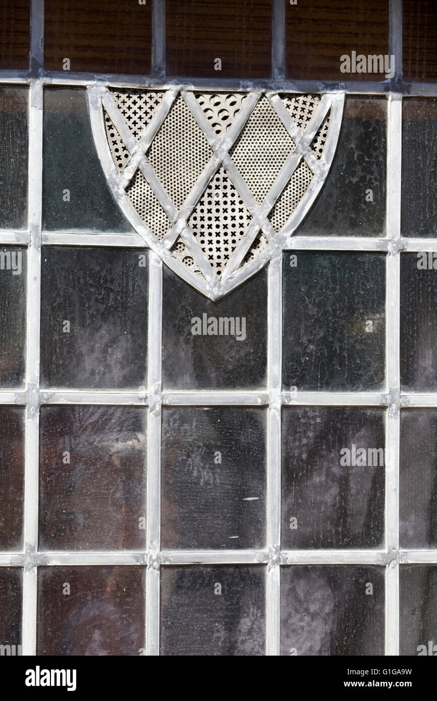 Tudor window with decorative pattern - Stock Image