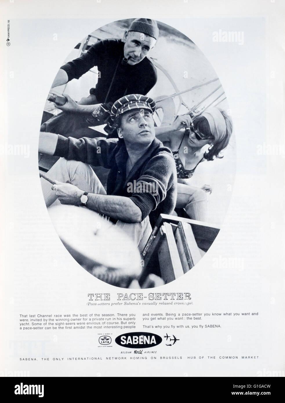 1960s magazine advertisement advertising Sabena Airlines. Stock Photo