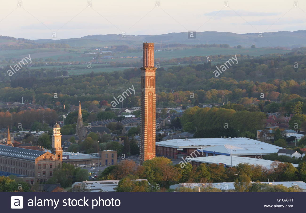 Elevated view of Cox's stack chimney at dawn Lochee Dundee Scotland  May 2016 - Stock Image