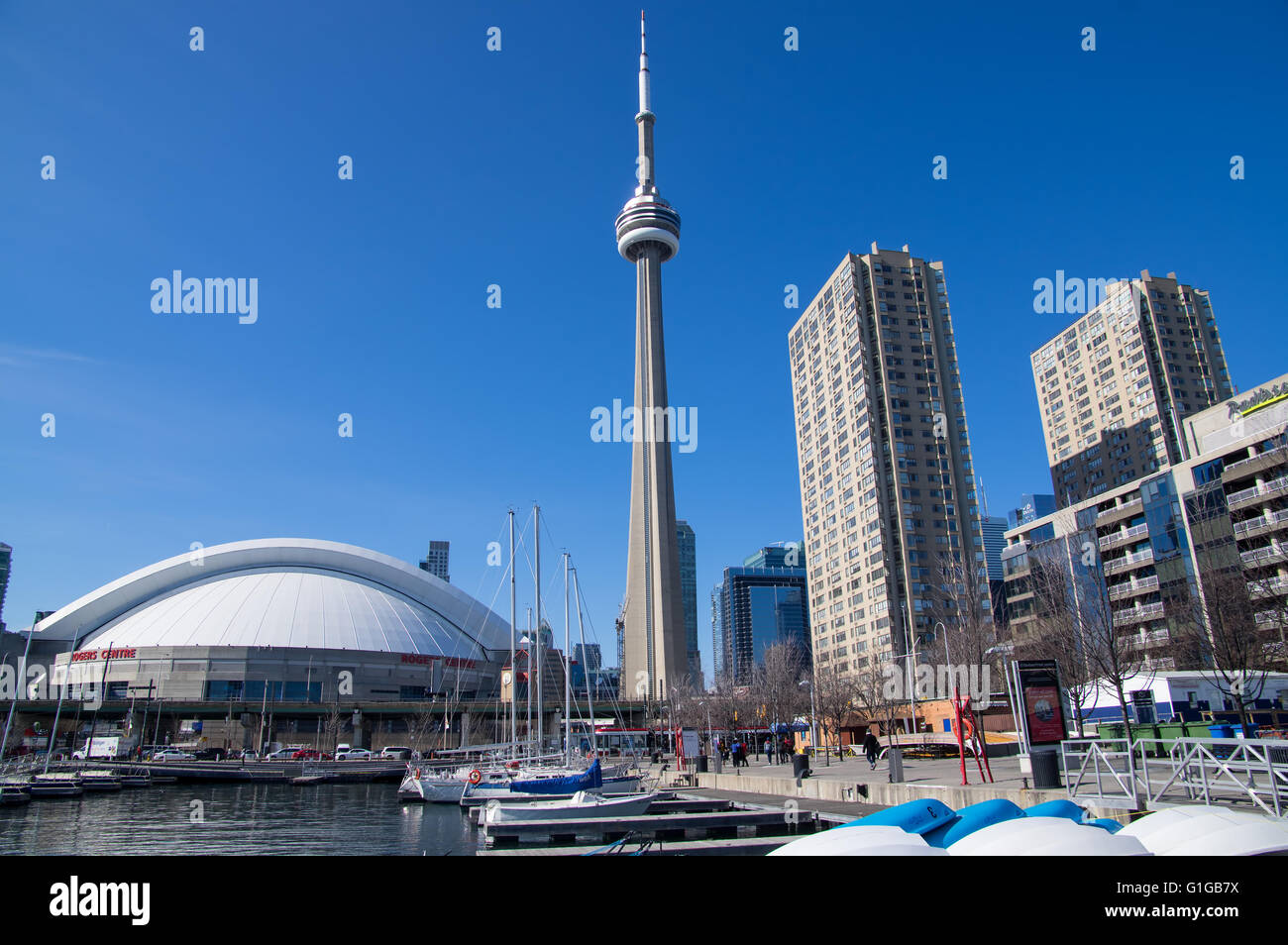 Toronto CN tower and  Rogers Center (SkyDome) view from Harbourfront - Stock Image