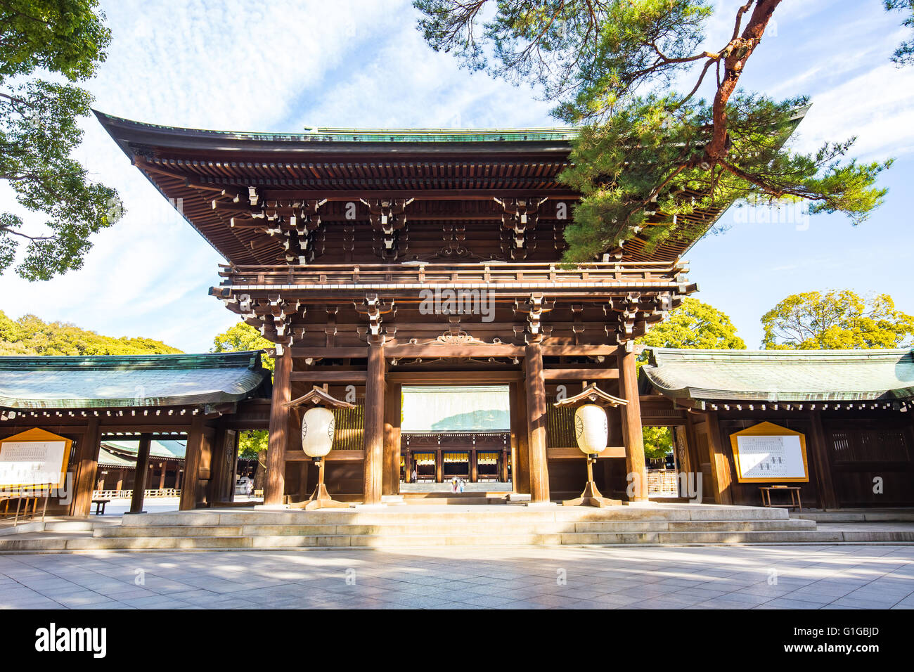 Tokyo, Japan - February 16, 2015: Meiji Shrine located in Shibuya, Tokyo, is the Shinto shrine that is dedicated - Stock Image