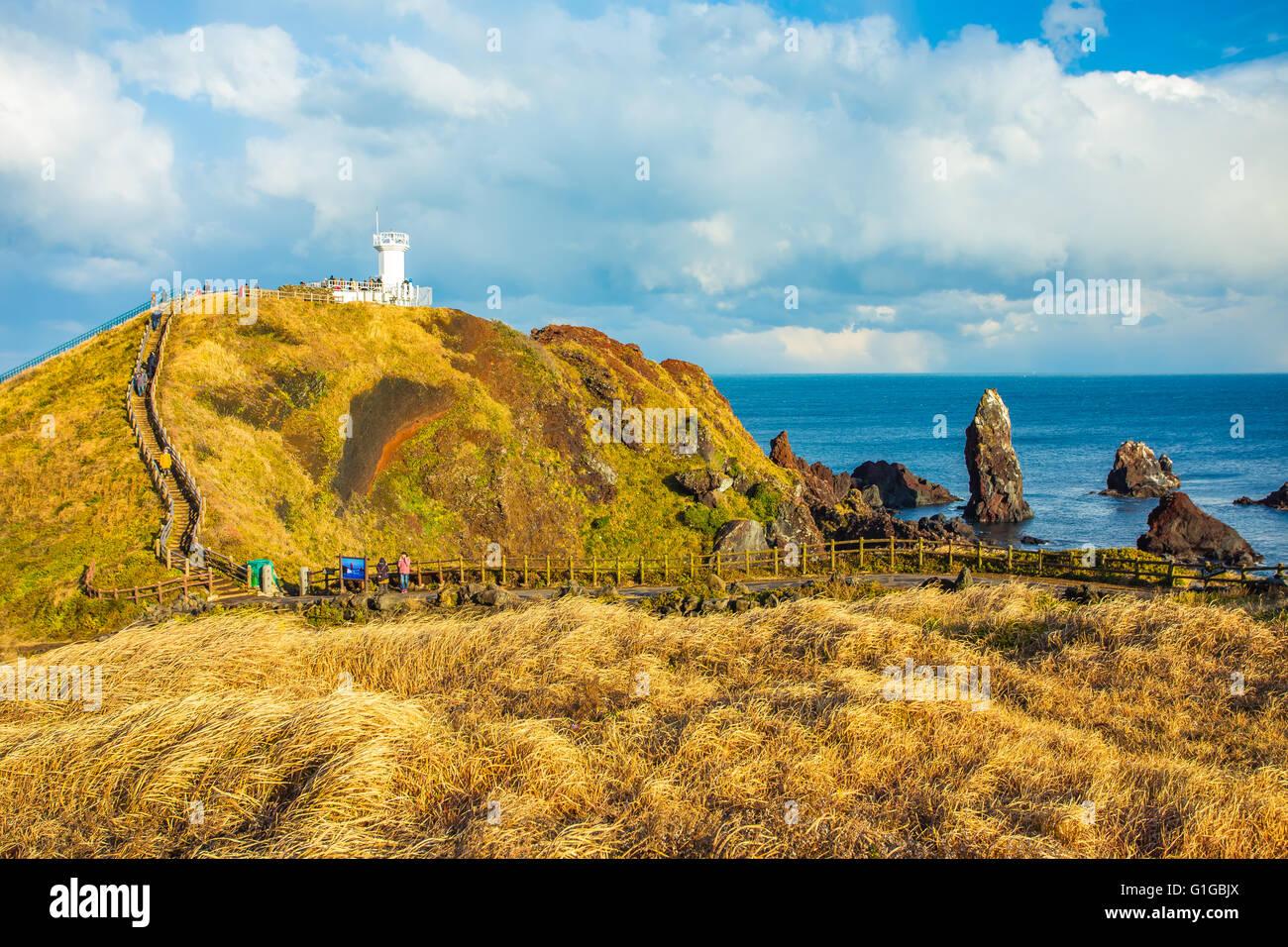 View of Seopjikoji Mountain Jeju Island, South Korea. Stock Photo