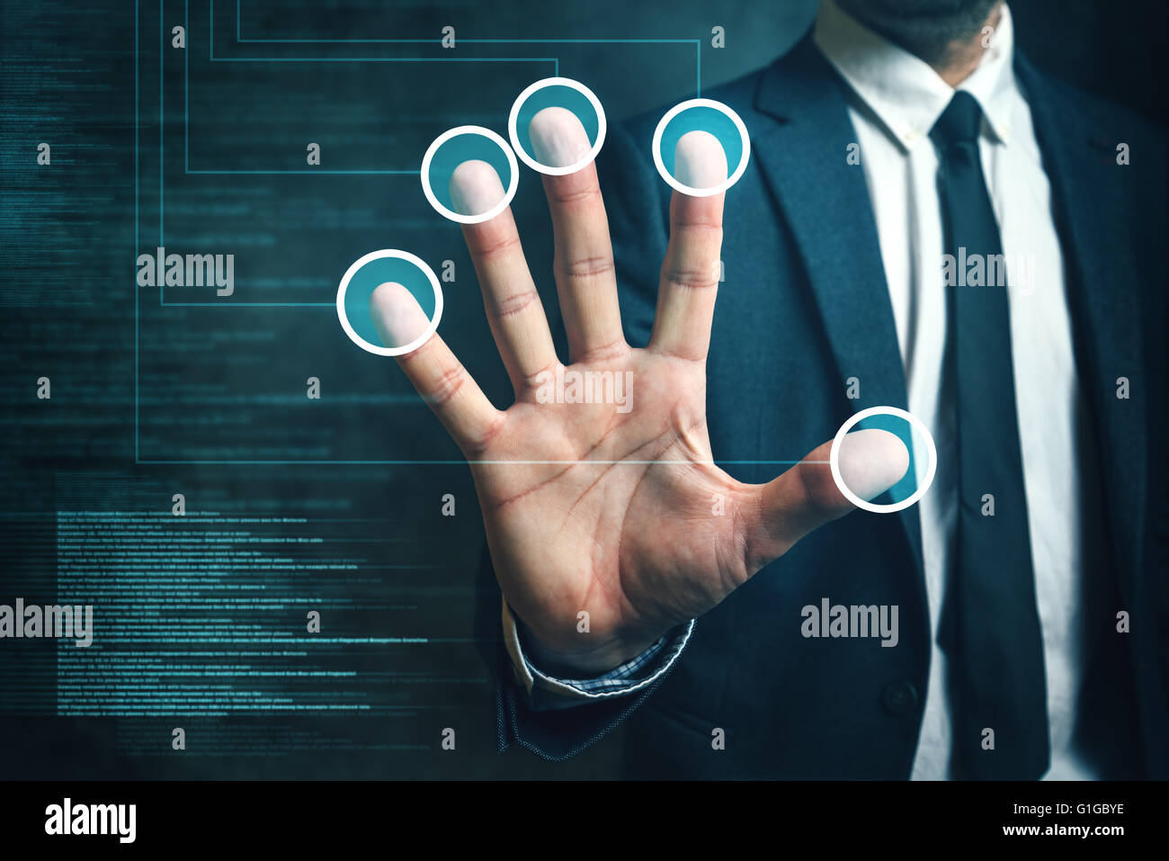 Businessman passing biometric verification with fingerprint scanner, modern futuristic technology in service of - Stock Image