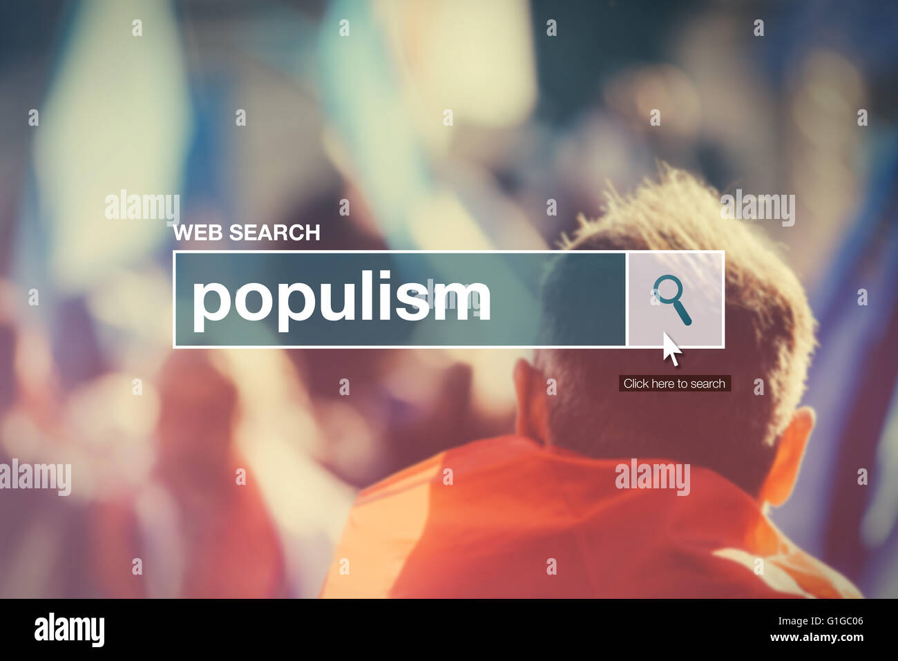 Web search bar glossary term - populism definition in internet glossary. - Stock Image