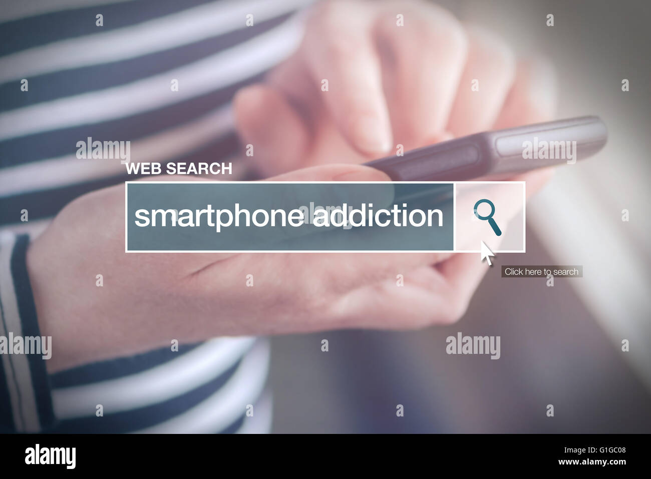 Web search bar glossary term - smartphone addiction definition in internet glossary. - Stock Image