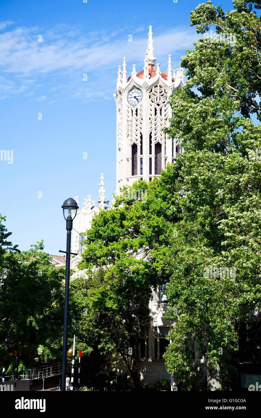 Clock Tower of University of Auckland view from Albert Park across Princes Street. Stock Photo