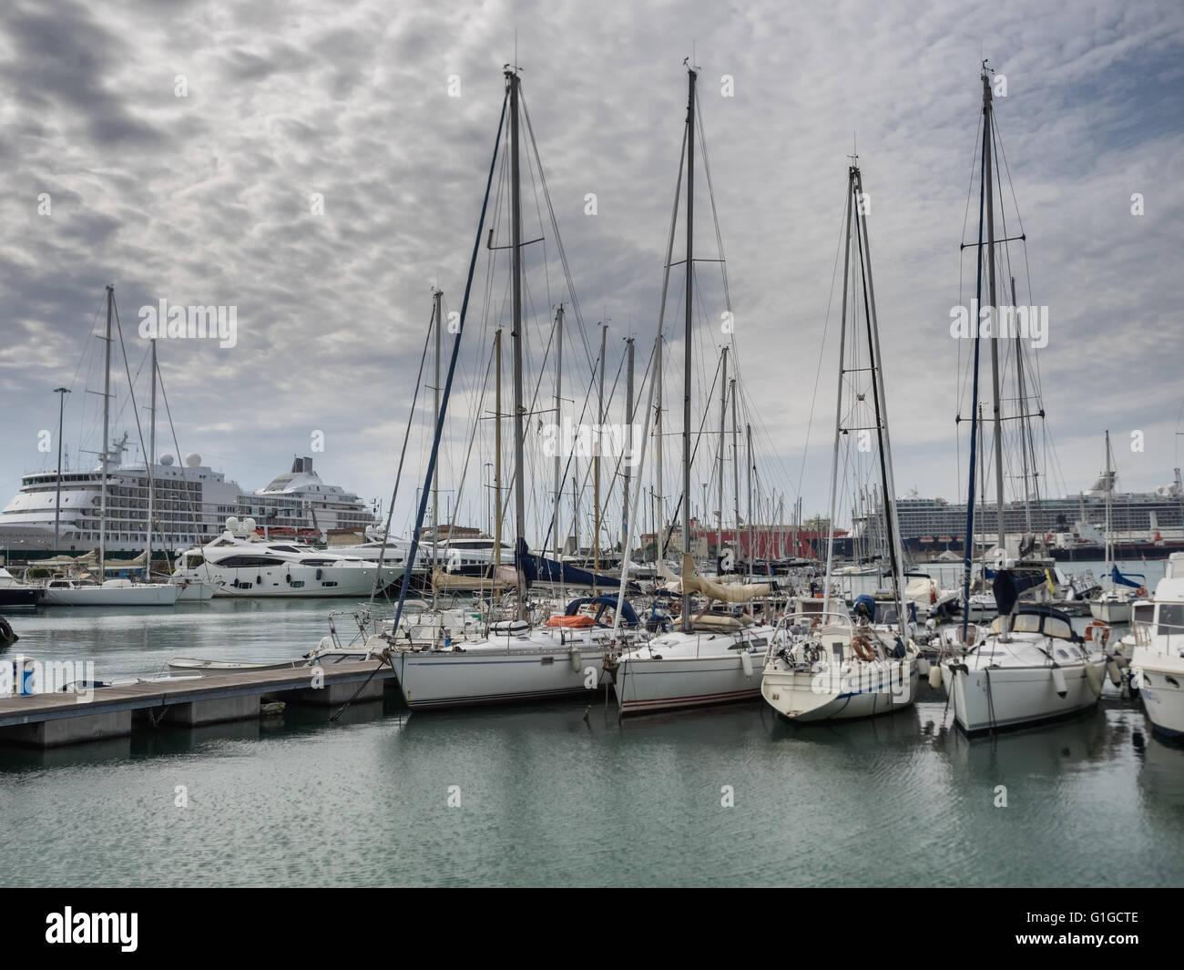 Yachts in the harbor of Livorno, Tuscany Italy - Stock Image