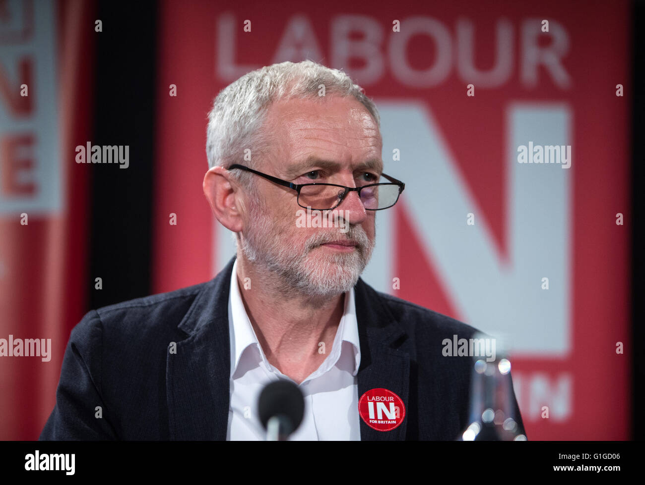 Labour leader Jeremy Corbyn speaks at a 'Vote to remain June 23rd' rally in Westminster,London.He is supporting - Stock Image