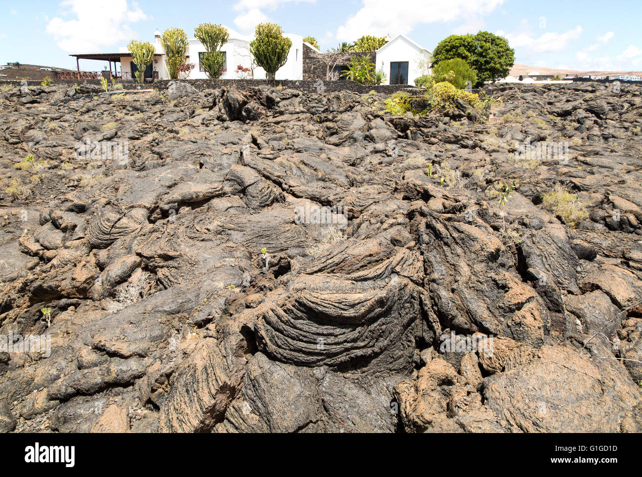 House standing in solidified pahoehoe or ropey lava field, Tahiche, Lanzarote, Canary Islands, Spain - Stock Image