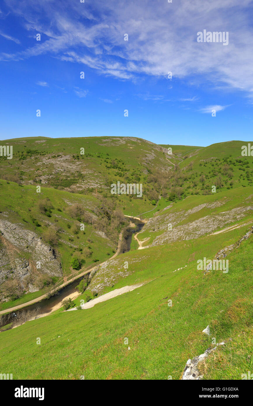 Dovedale and the River Dove from Thorpe Cloud, Peak District National Park, Derbyshire, Staffordshire, England, - Stock Image