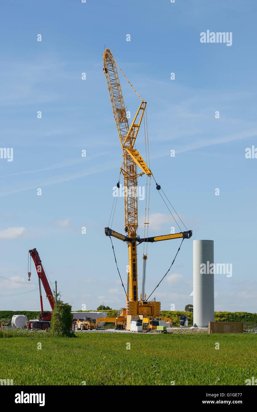 Construction of a wind turbine at Frodsham Wind Farm, Cheshire UK - Stock Image