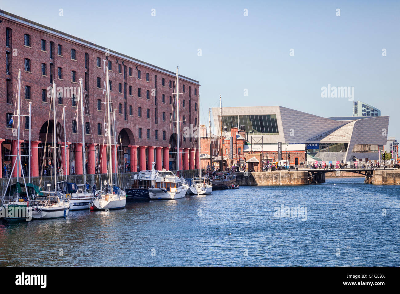 Museum of Liverpool from the Albert Dock, Liverpool, England, UK - Stock Image