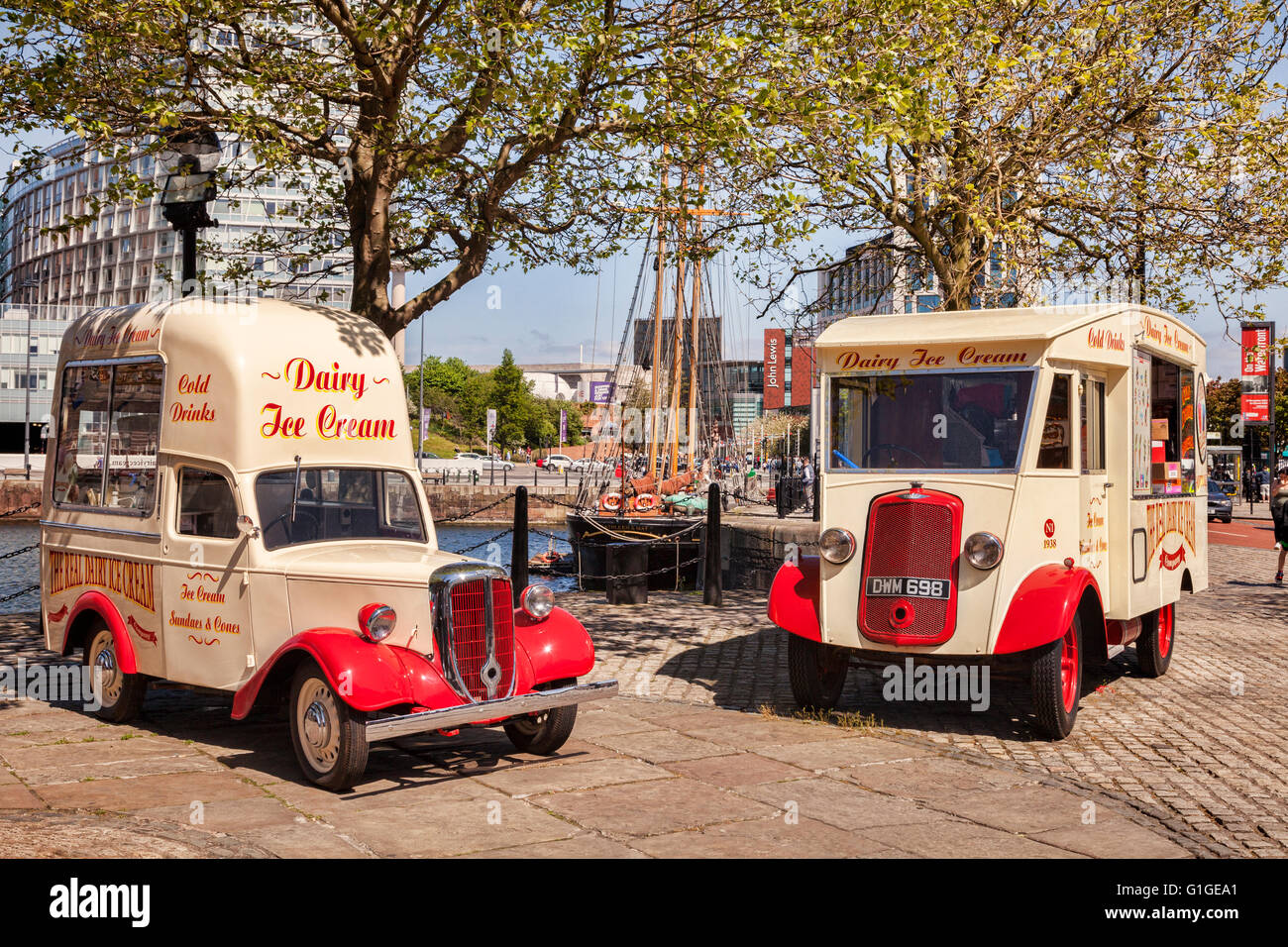 Two traditional ice cream vans on the waterfront in Liverpool, England, UK - Stock Image