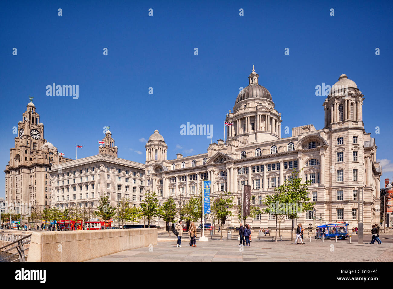 The 'Three Graces', historic buildings which dominate the Liverpool waterfront at Pier Head. They are the - Stock Image