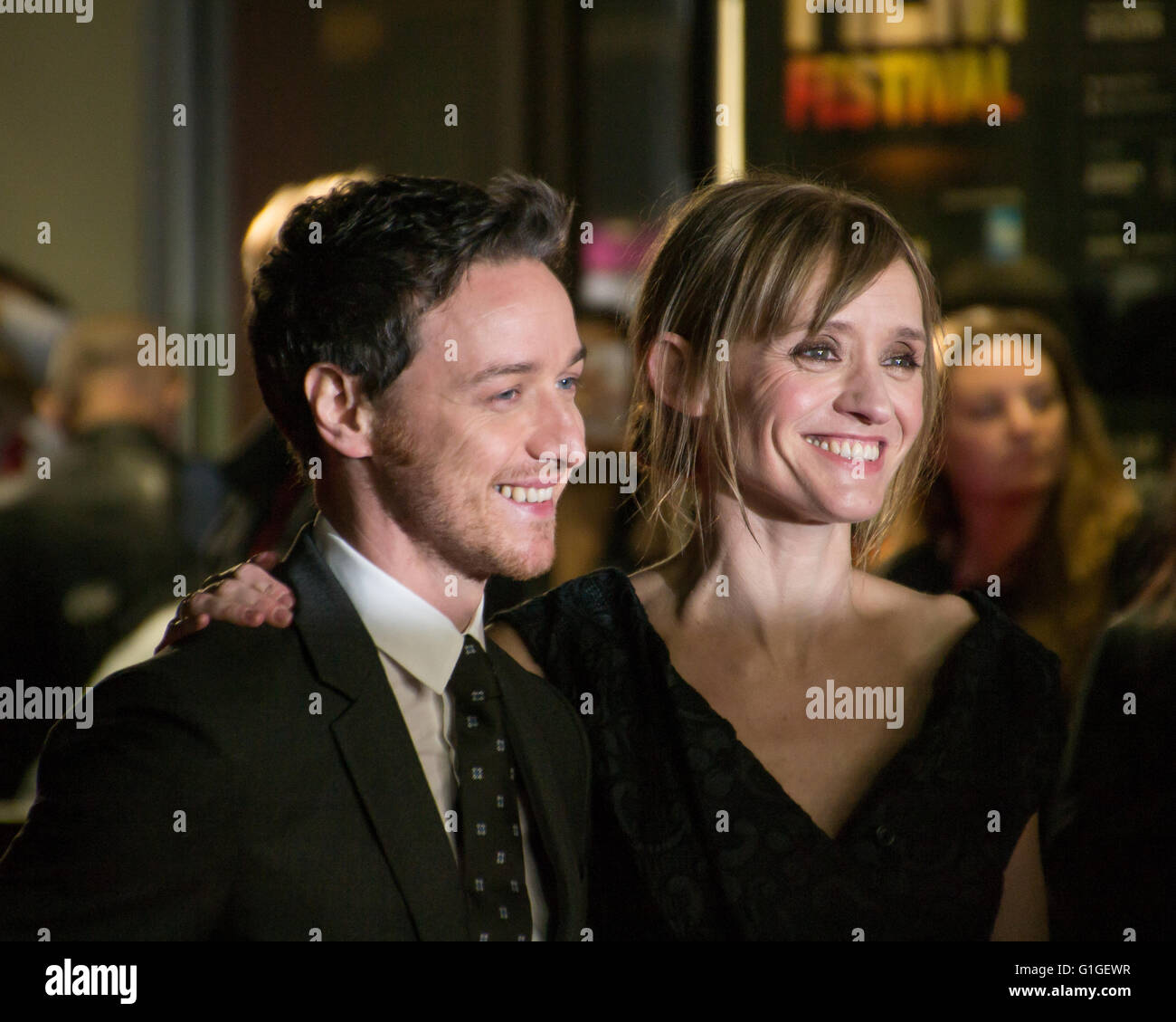 James McAvoy and Anne Marie-Duff  at the BFI London film festival.  2014. - Stock Image