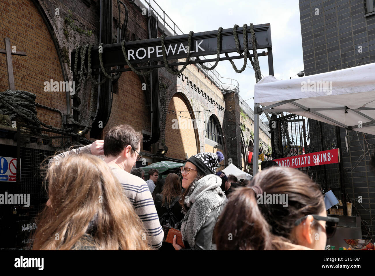 Artisan ROPEWALK street food market under the railway arches Maltby Street Bermondsey London SE1  KATHY DEWITT - Stock Image