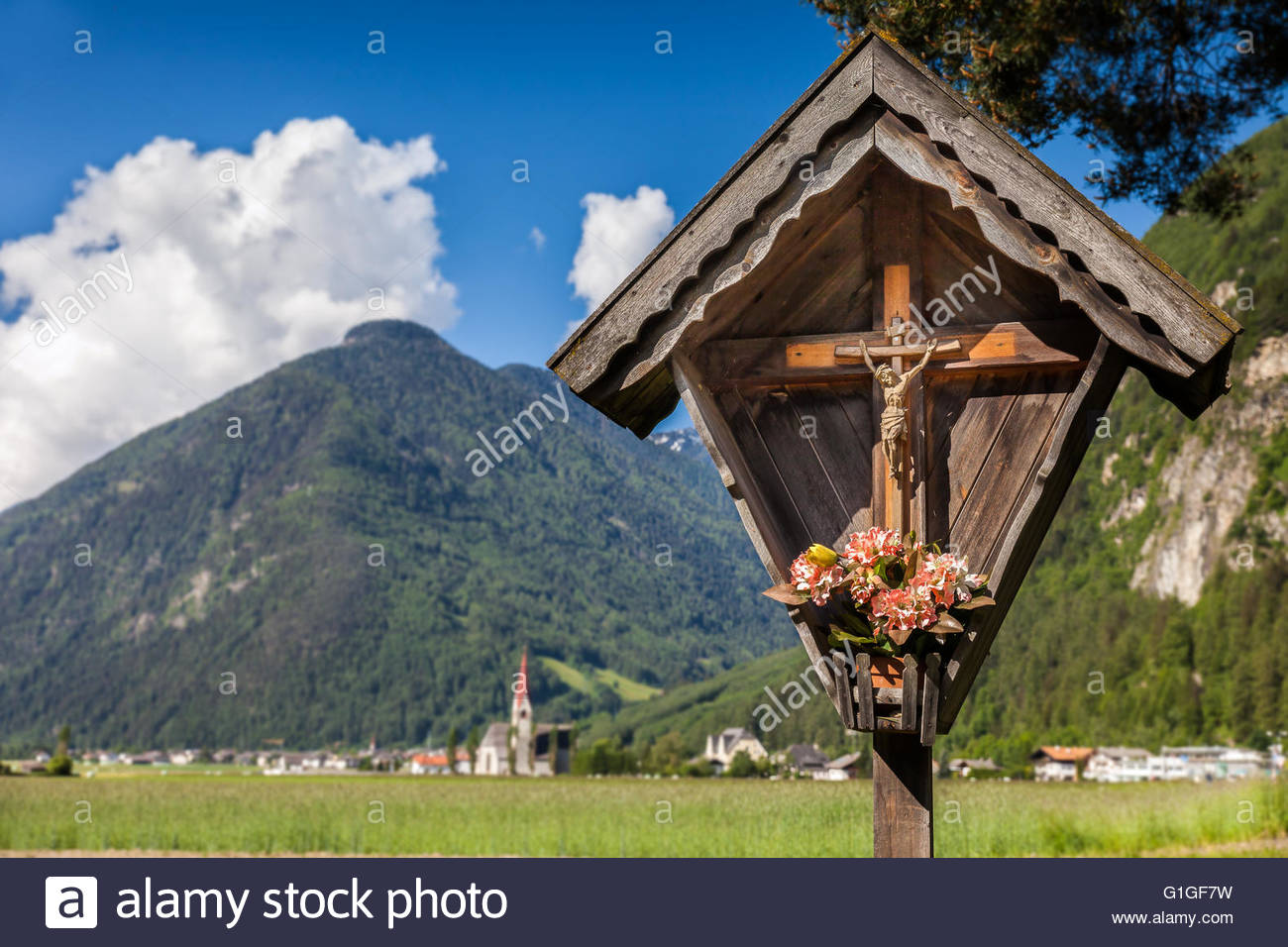 Christian wayside shrine in Campo Tures, South Tyrol, Italy - Stock Image