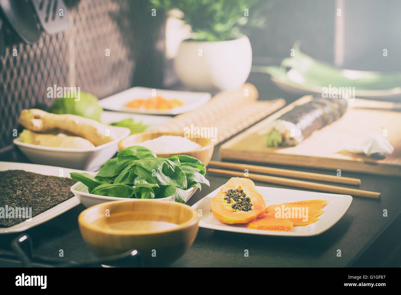 sushi roll process of making raw makki fresh seafood susi - stock image - Stock Image