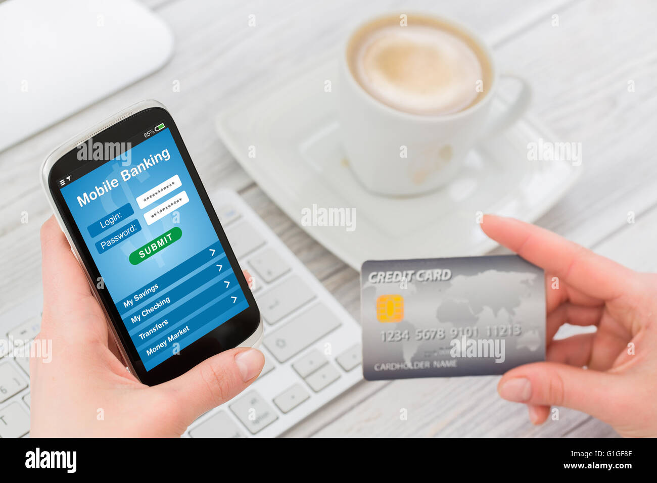 Woman holding smart phone with mobile banking application on a screen. - Stock Image