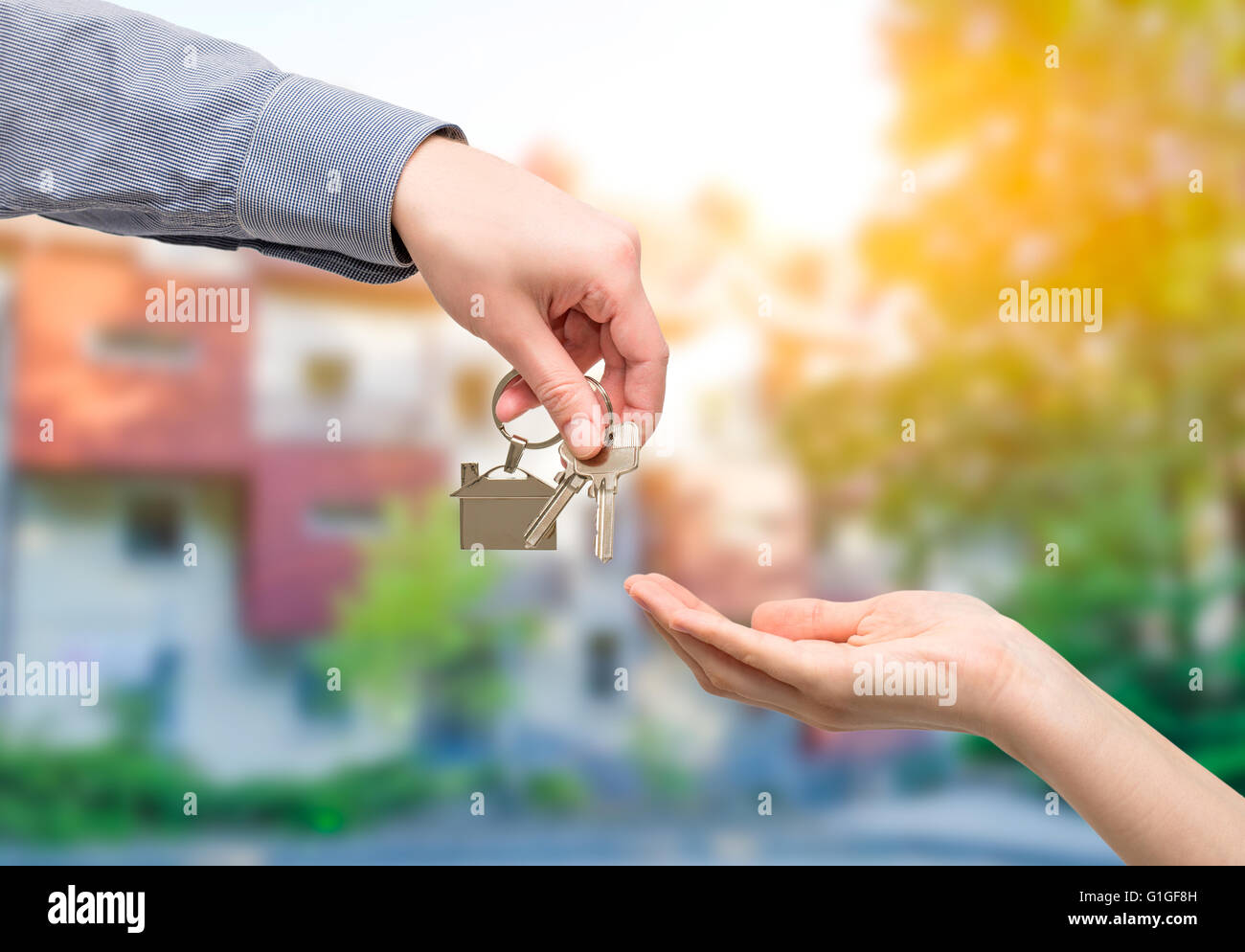 key home buy sale hand business owner estate real house - stock image - Stock Image