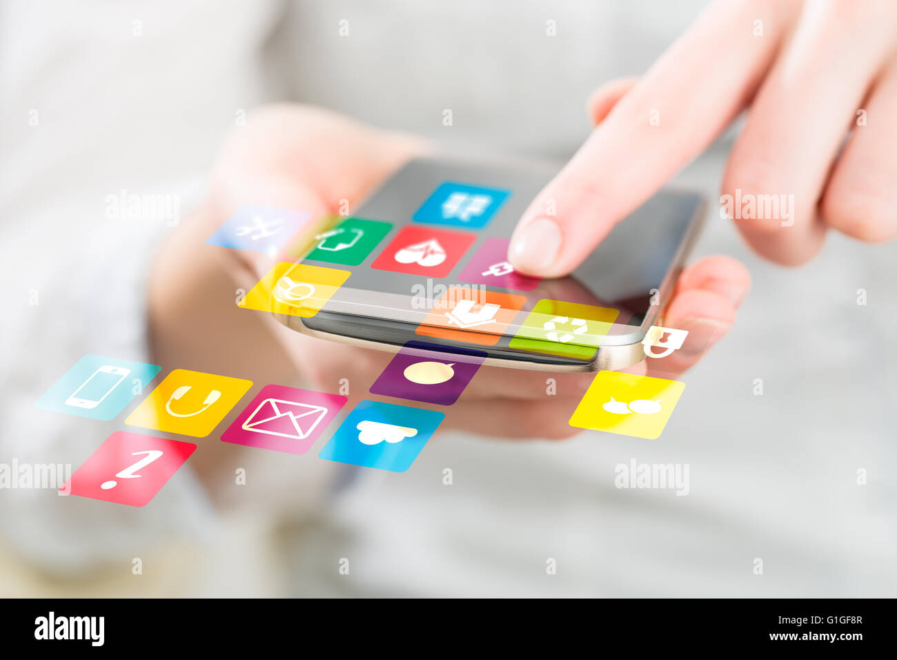 Social media network concept on phone. - Stock Image