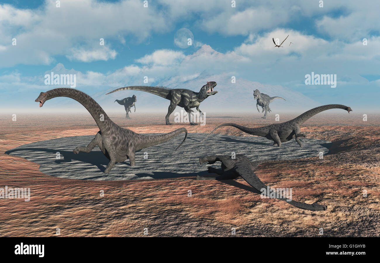 Juvenile Diplodocus Sauropods Caught In A Mud Pit , Attracting The Attention Of Carniverous Allosaurus Dinosaurs Stock Photo
