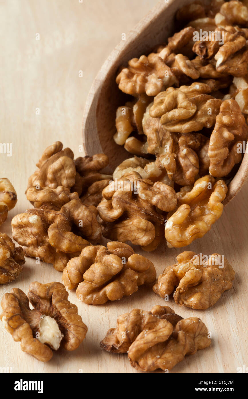 Wooden scoop with shelled walnuts - Stock Image