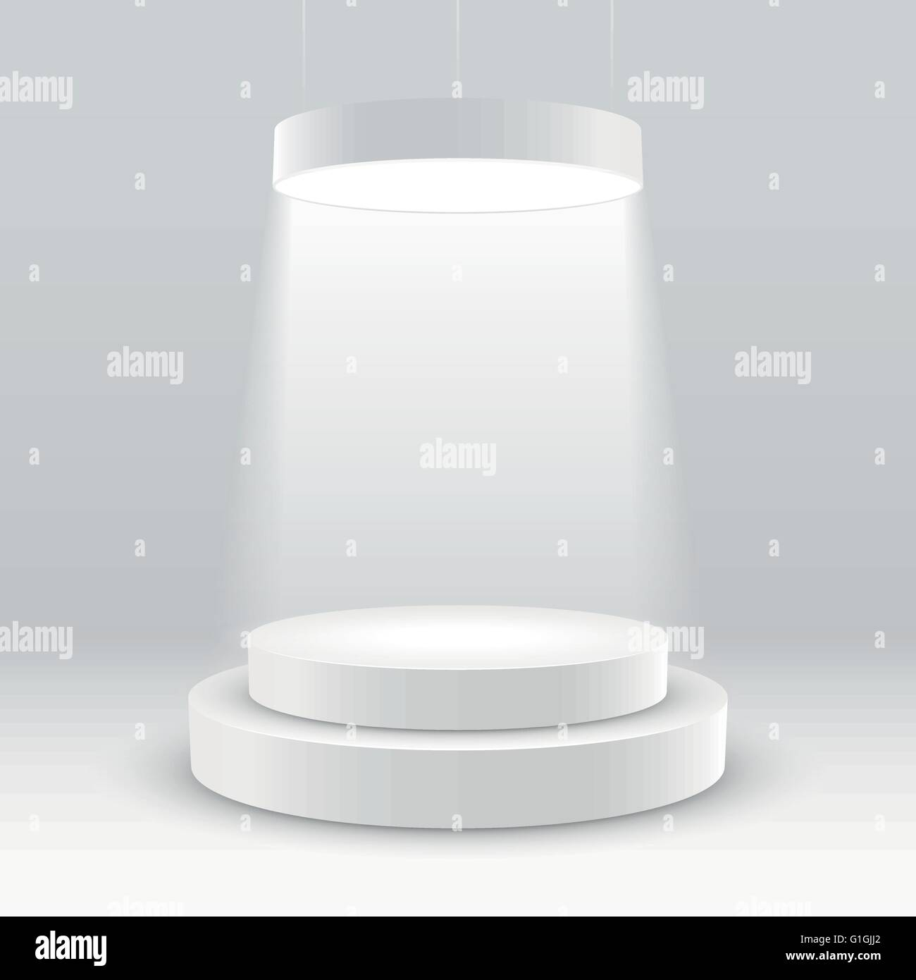 illuminated white round podium vector illustration. Stock Vector