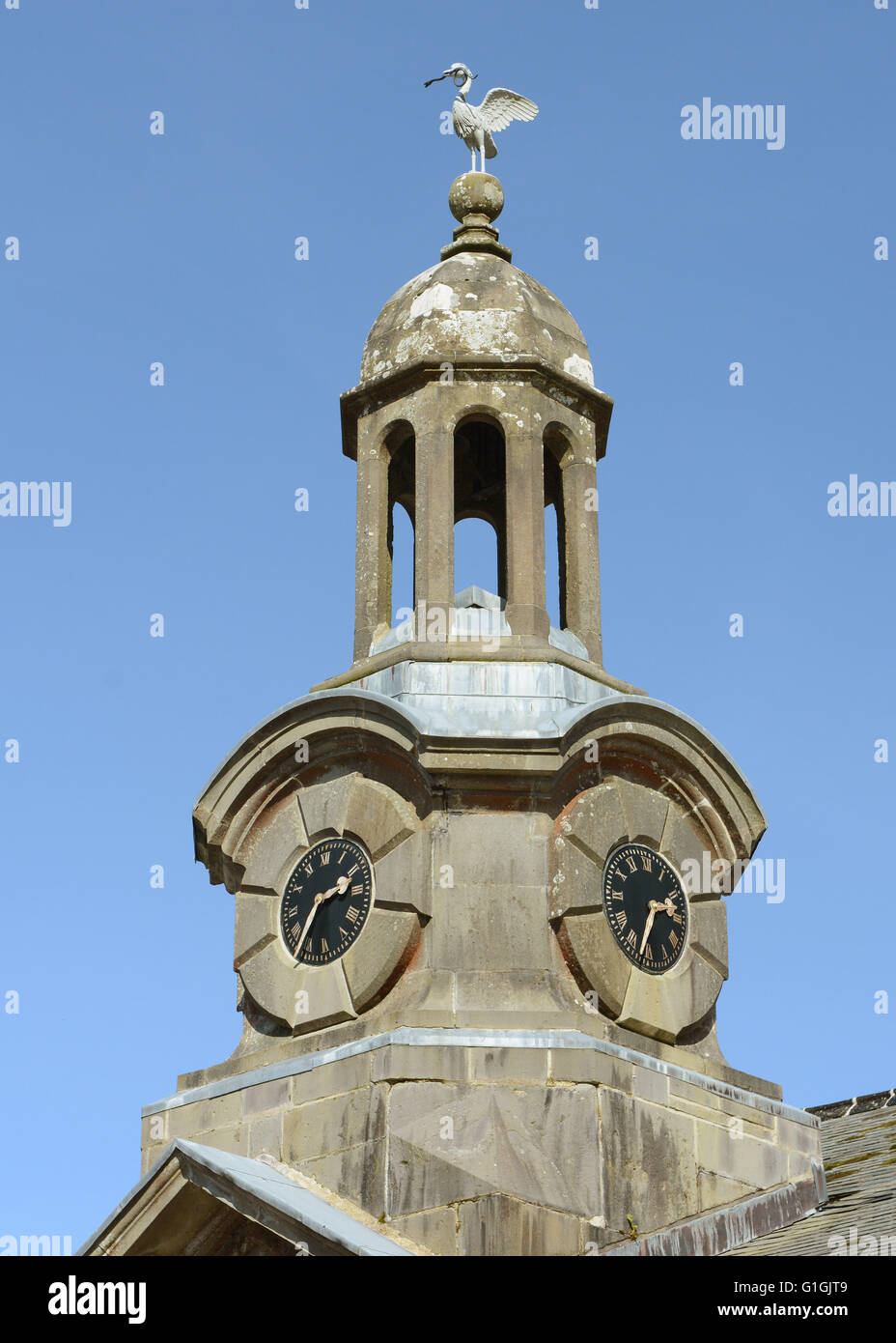 Clock tower on the old Stables at Arlington Court North Devon  Chichester Family Home National Trust House and Gardens - Stock Image