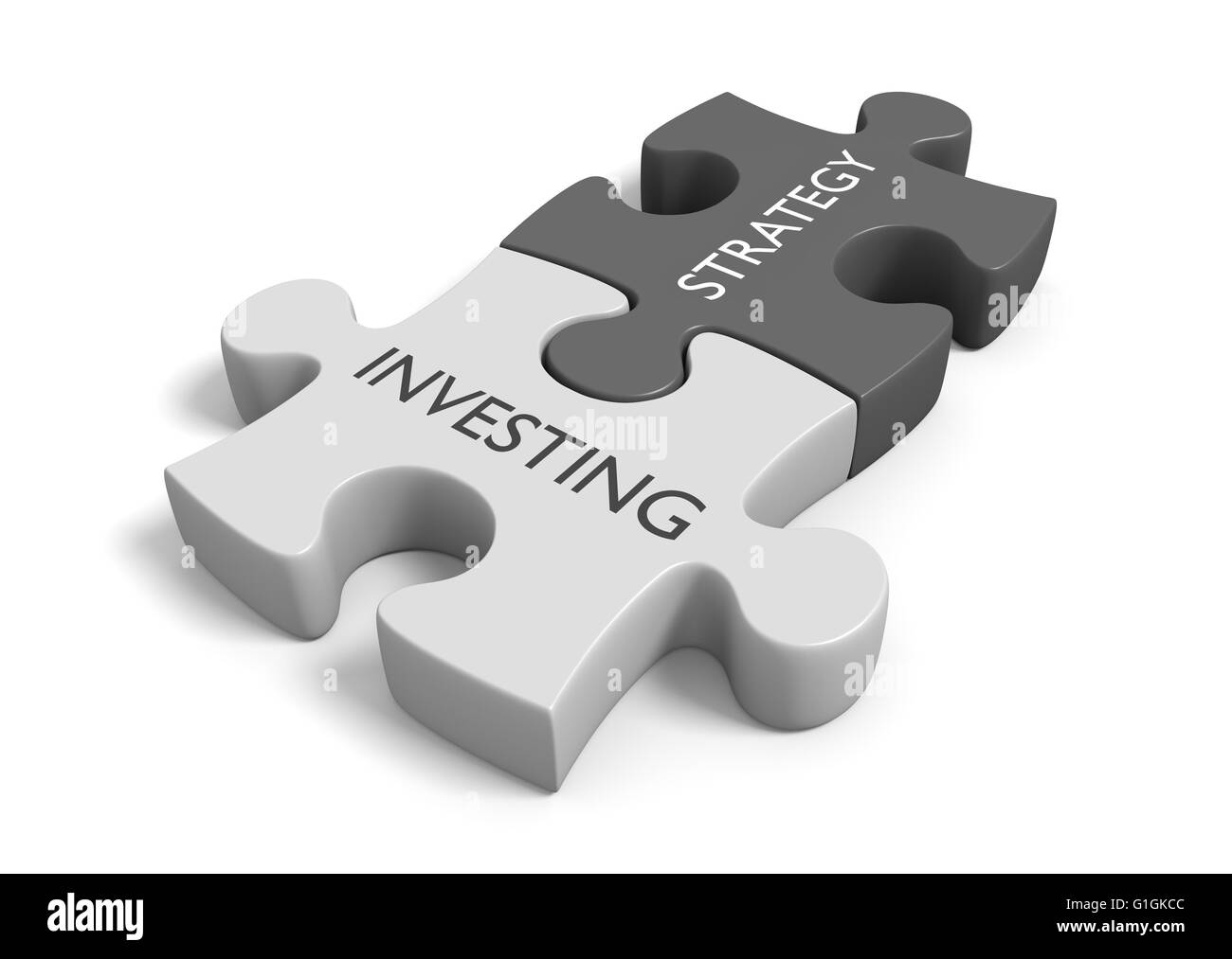 Two connected puzzle pieces with the words investing strategy, 3D rendering - Stock Image