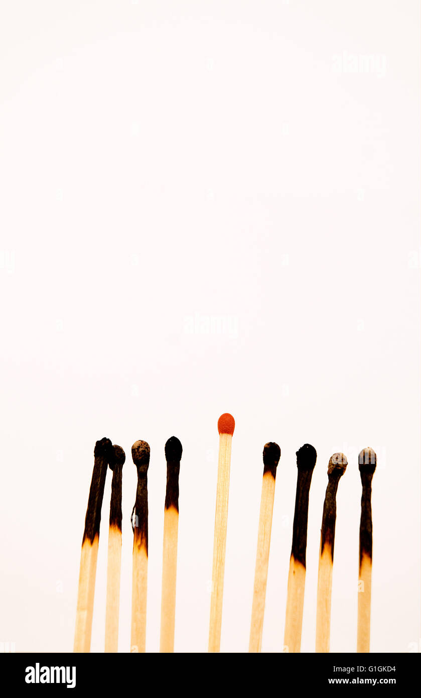 Unlit match sticking out from burned matches. - Stock Image