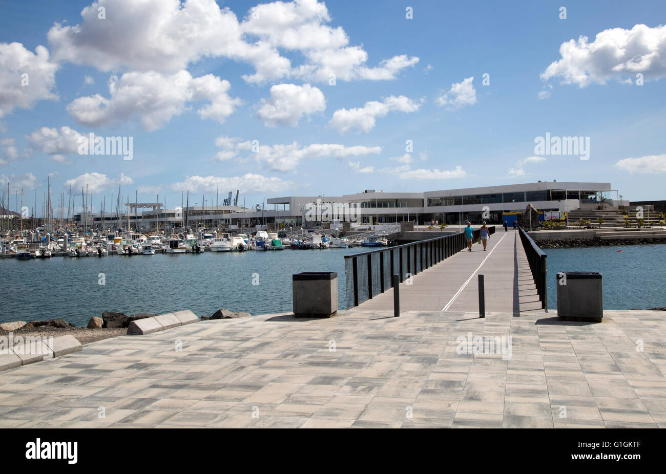 Yachts at moorings and new buildings marina area of Arrecife, Lanzarote, Canary Islands, Spain - Stock Image