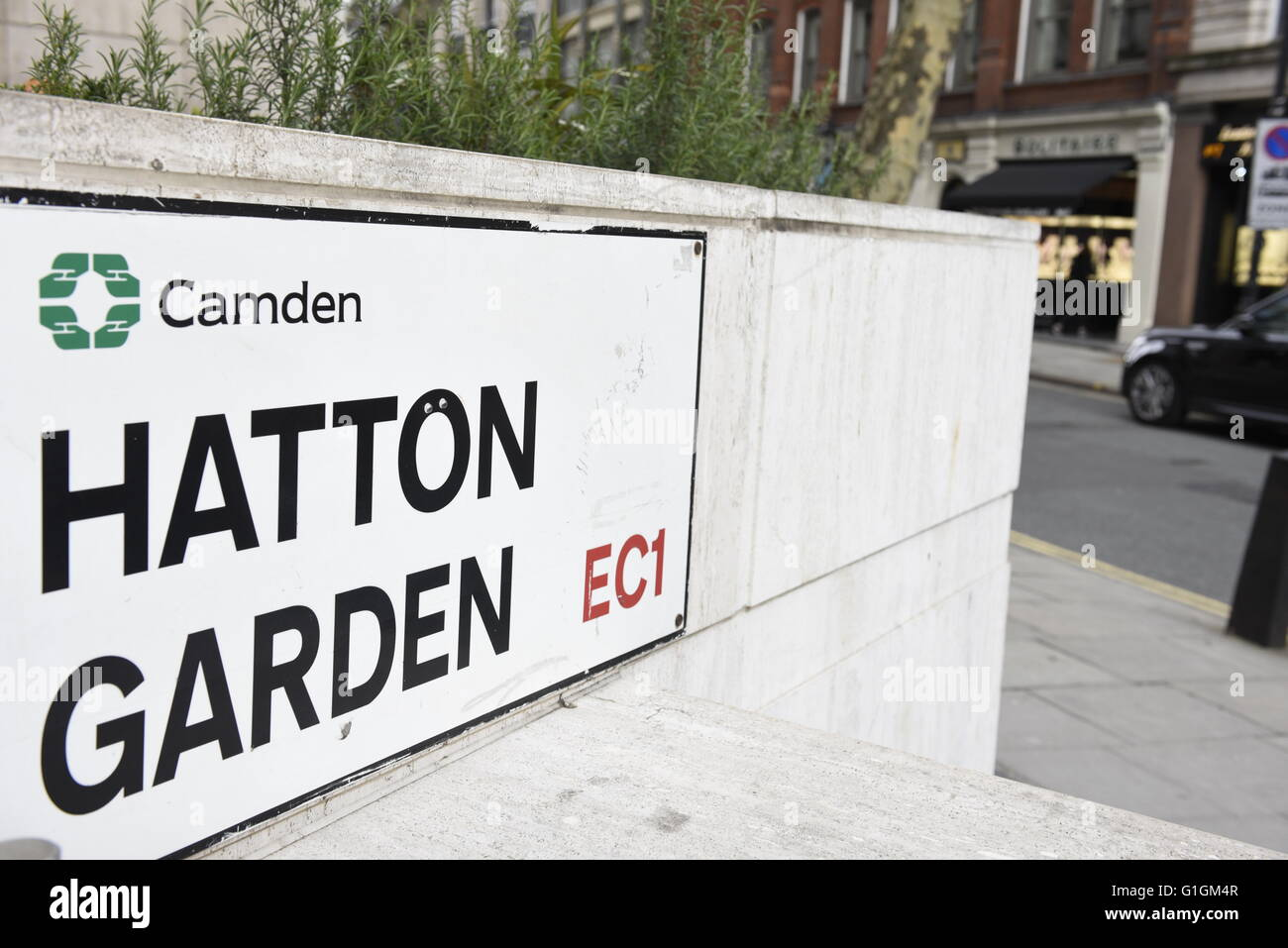 Hatton Garden road sign, London Borough of Camden, London, UK. Hatton Garden is most famous for being London's jewellery Stock Photo