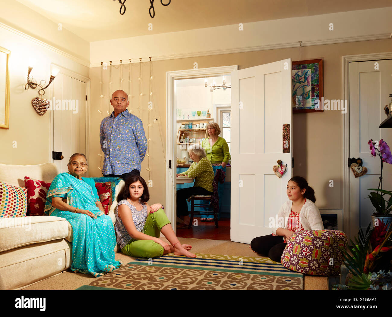 Actor Bhasker Patel and his family at home, UK - Stock Image