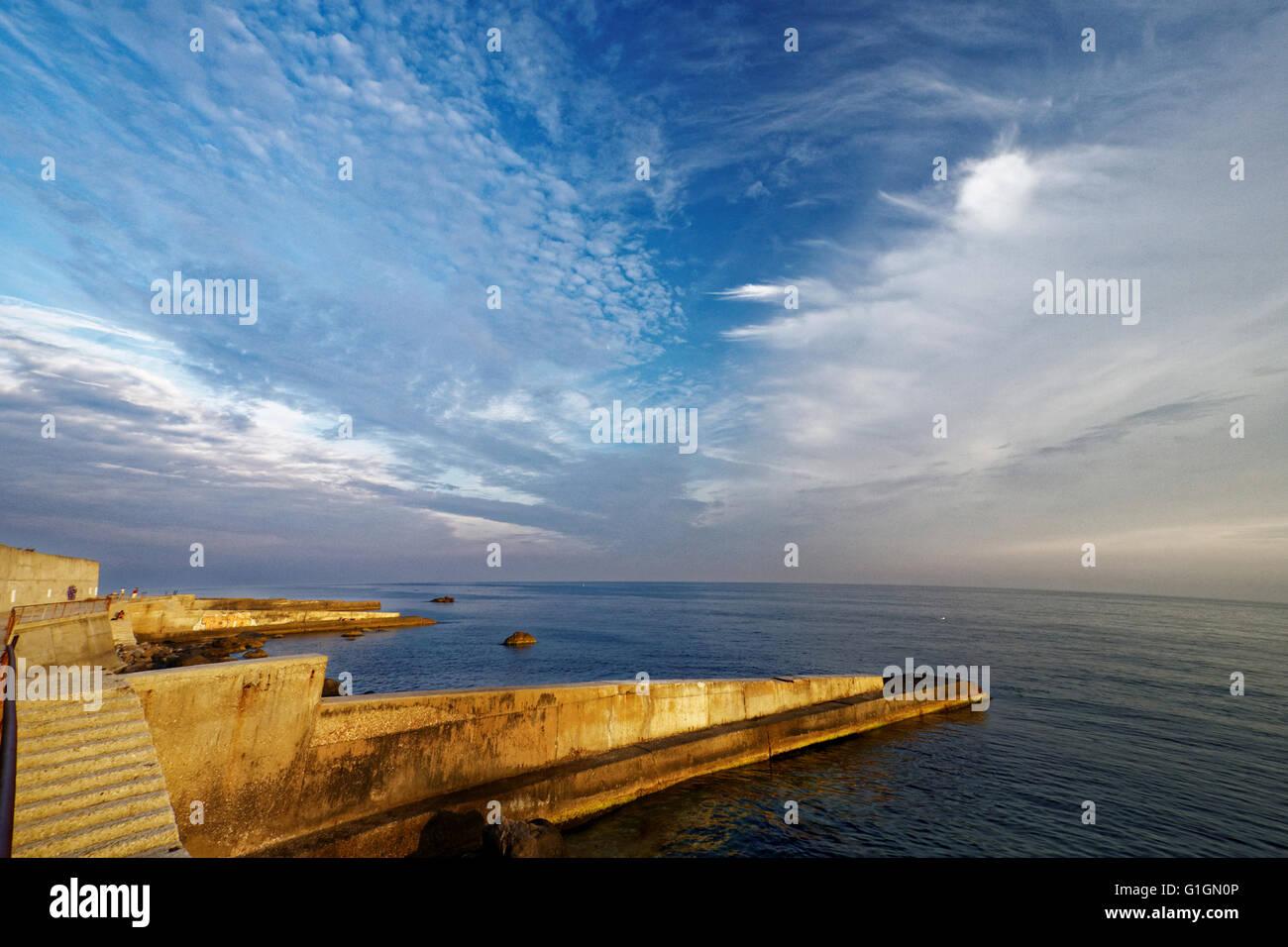 breakwaters in Black sea. Crimea, Ukraine. - Stock Image