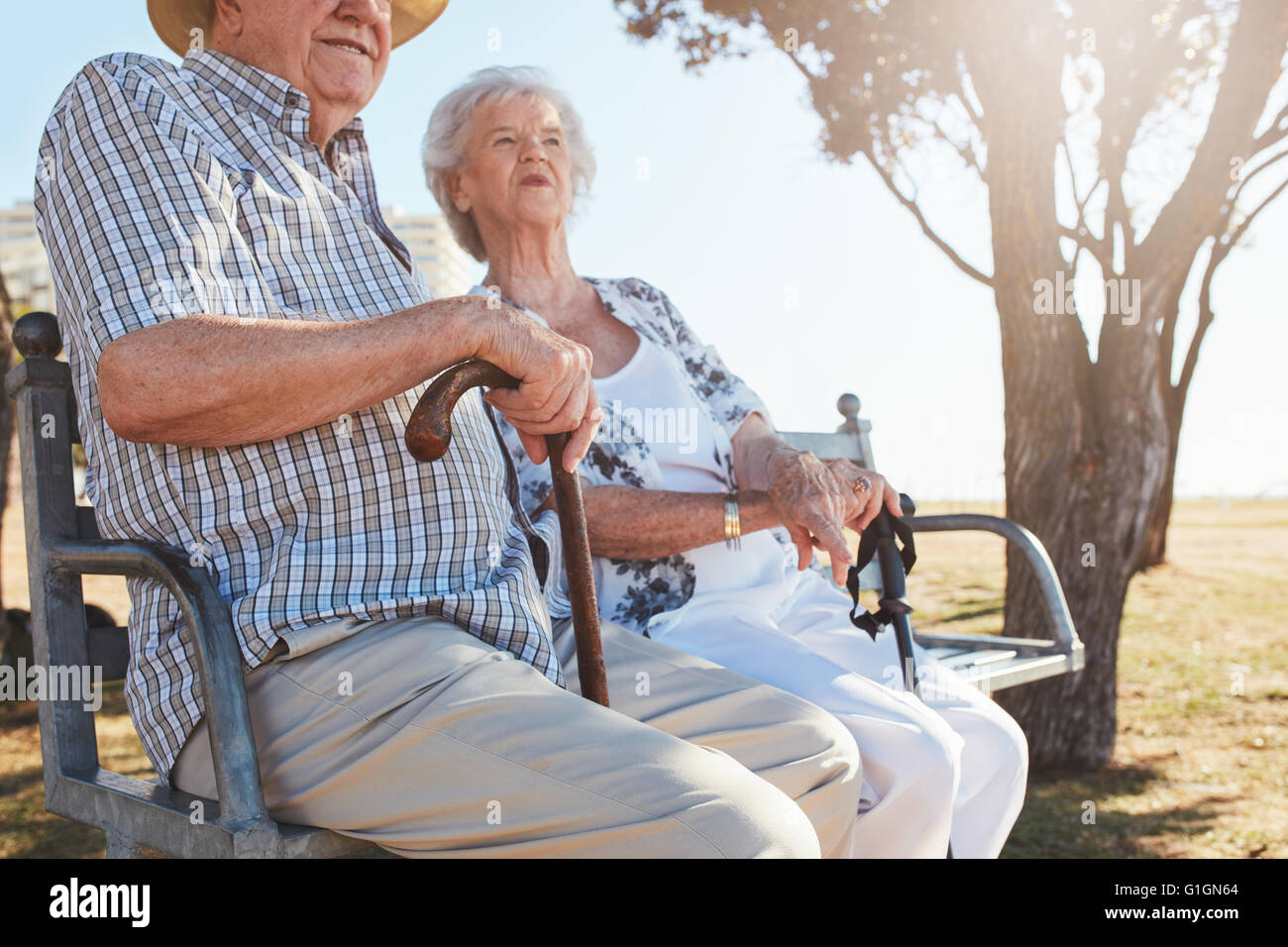 Senior couple sitting on a park bench with walking stick. Elderly couple relaxing outdoors on a summer day. - Stock Image
